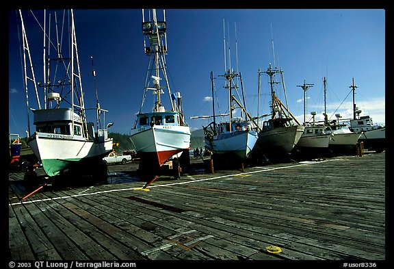 Boats on the dry deck of Port Orford. Oregon, USA