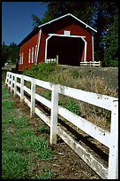 Fence and red covered bridge, Willamette Valley. Oregon, USA ( color)