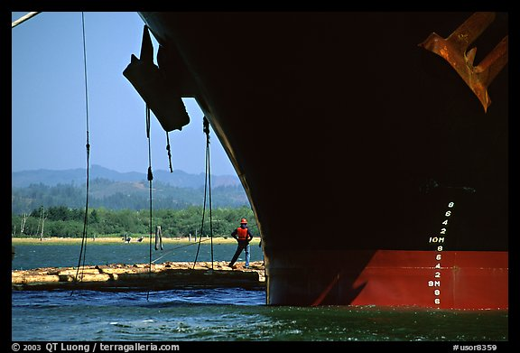 Cargo ship loading floated timber, Coos Bay. Oregon, USA (color)