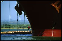 Cargo ship loading floated timber, Coos Bay. Oregon, USA ( color)
