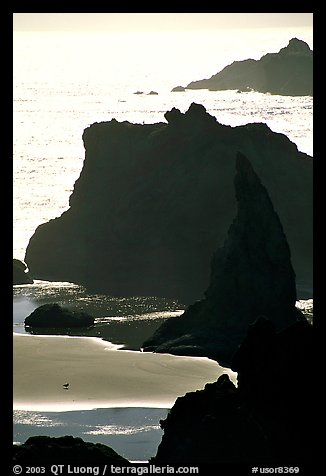 Seastacks, reflections, and beach, late afternoon. Bandon, Oregon, USA (color)