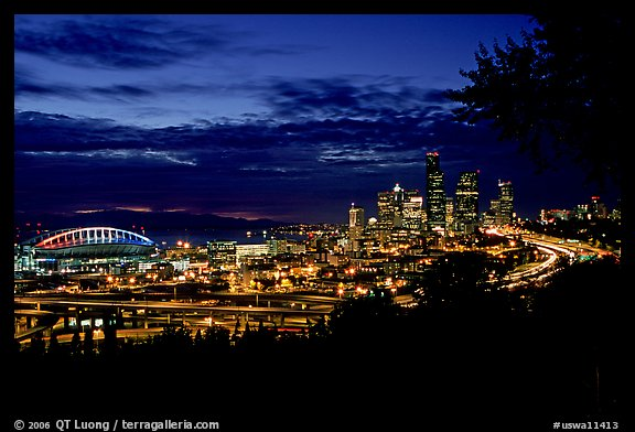 City skyline and Qwest Field at night. Seattle, Washington