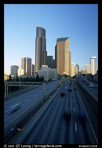 Freeway and downtown skyline, early morning. Seattle, Washington (color)