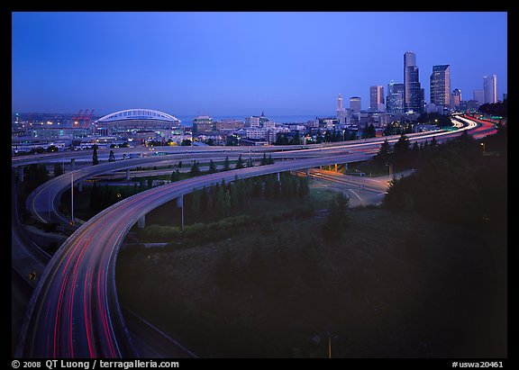 Freeway and skyline at dawn. USA (color)