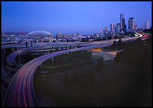 Freeway and skyline at dawn. Seattle, Washington ( color)