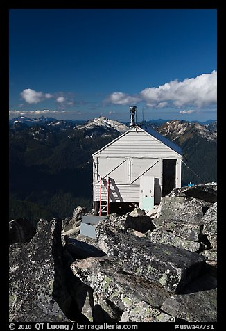 Fire lookout on top of mountain, Hidden Lake Peak. Washington (color)