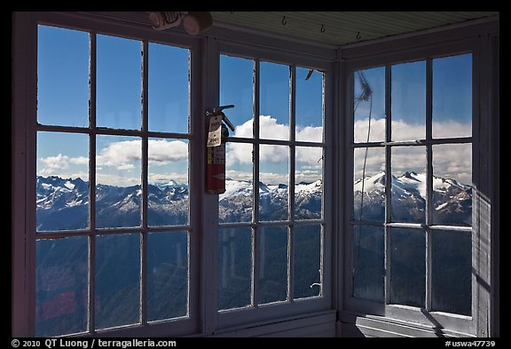 Mountains seen through windows of Hidden Lake Lookout. Washington (color)