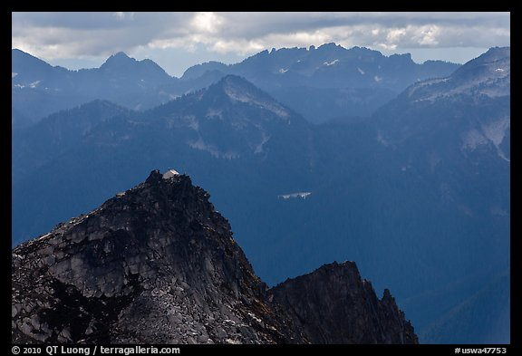 Hidden Lake Peak and lookout, Mount Baker Glacier Snoqualmie National Forest. Washington (color)