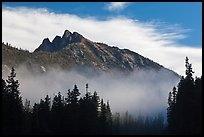 Whistler Mountain emerging from fog. Washington (color)