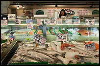 Fresh fish for sale, Pike Place Market. Seattle, Washington (color)