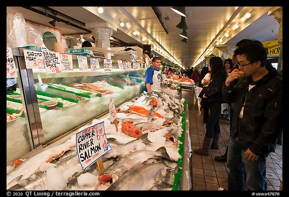 Fish market, Pike Place Market. Seattle, Washington (color)
