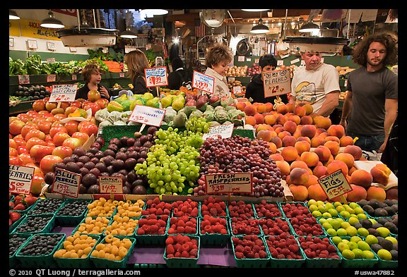 Fruit stall, Main Arcade, Pike Place Market. Seattle, Washington (color)