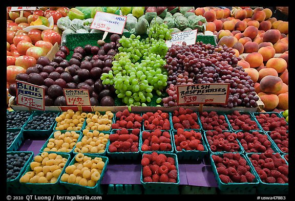 Display of fresh fruit, Pike Place Market. Seattle, Washington (color)
