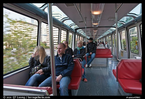 Riders in monorail. Seattle, Washington (color)