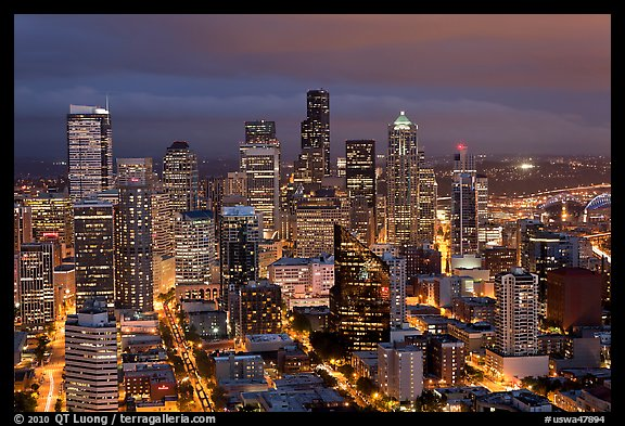 Downtown Seattle by nite. Seattle, Washington (color)