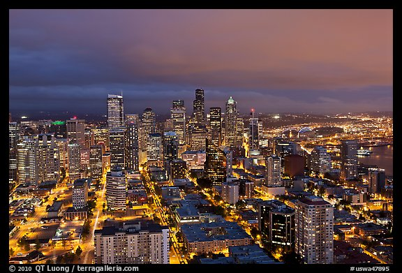 Seattle skyline by night. Seattle, Washington (color)