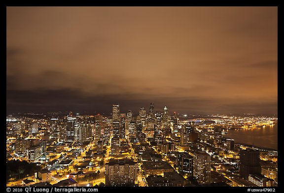 Downtown skyline by night. Seattle, Washington (color)