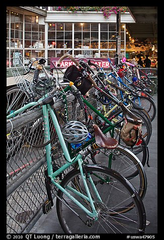 Bicycles parked outside  Pike Place Market. Seattle, Washington (color)