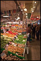 Fruit and vegetable market in Main Arcade, Pike Place Market. Seattle, Washington ( color)