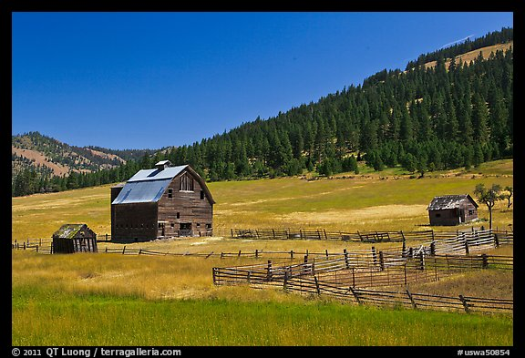 Barn and pasture in mountains. Washington (color)