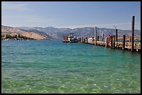Pier and Lake Chelan, Chelan. Washington (color)