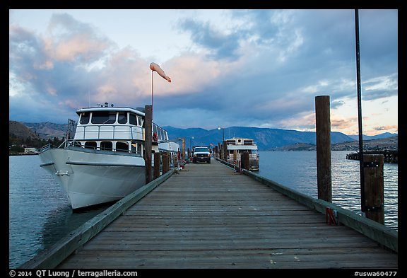 Deck with Lady of the Lake II ferry, Chelan. Washington (color)