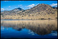 Dry hills reflected in Lake Chelan. Washington ( color)