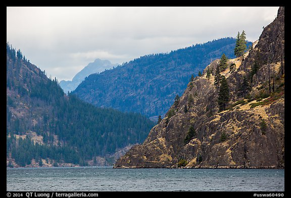 Ridges and Cascades mountains, Lake Chelan. Washington (color)