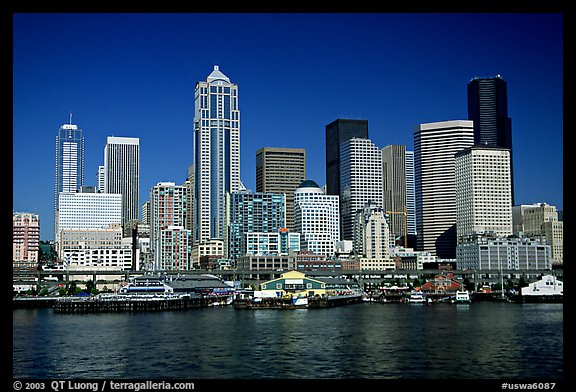 Seattle skyline seen from the water. Seattle, Washington (color)
