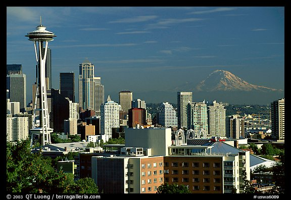 Seattle skyline with the Needle and Mt Rainier, afternoon. Seattle, Washington (color)