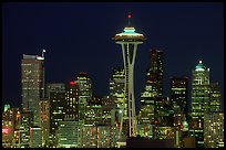 Seattle skyline at night with the Needle. Seattle, Washington