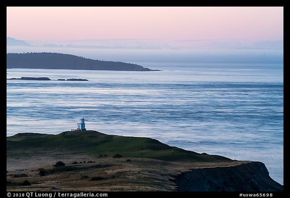 Cattle Point Lighthouse at dawn, San Juan Island. Washington (color)