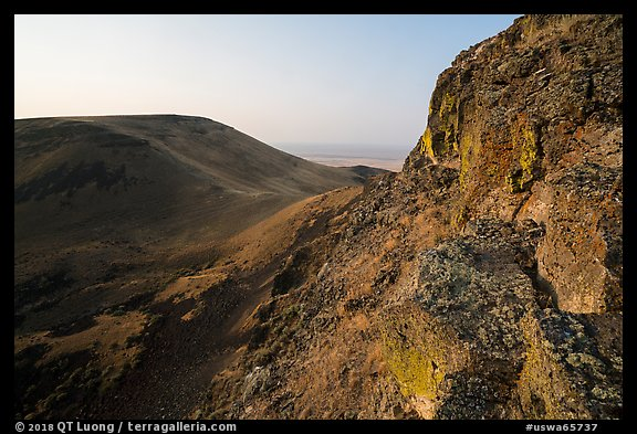 Basalt cliff and Saddle Mountain at sunrise, Hanford Reach National Monument. Washington (color)