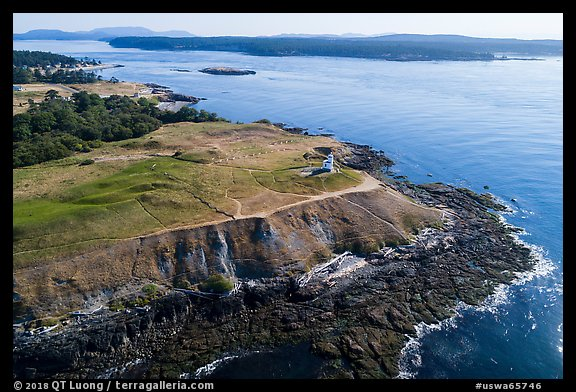 Aerial view of Cattle Point and Lopez Island, San Juan Island. Washington (color)