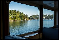 Looking out of window from ferry to San Juan Island. Washington ( color)