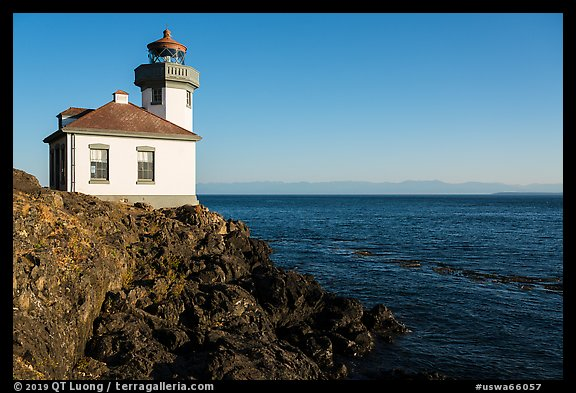 Lime Kiln Lighthouse and Haro Strait, Lime Point State Park, San Juan Island. Washington (color)