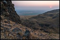Volcanic outcrop and rising sun, Saddle Mountain, Hanford Reach National Monument. Washington ( color)