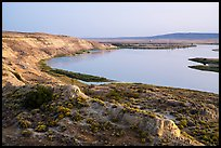 White Bluffs and Columbia River, sunset, Hanford Reach National Monument. Washington ( color)