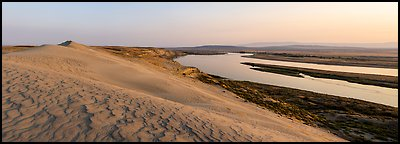 Sand Dunes, Locke Island, and Columbia River, sunset, Hanford Reach National Monument. Washington (Panoramic color)