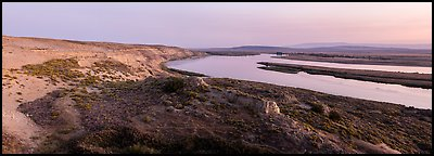 White Bluffs, Locke Island, and Columbia River, twilight, Hanford Reach National Monument. Washington (Panoramic color)