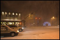 Street in snow blizzard by night. Jackson, Wyoming, USA ( color)