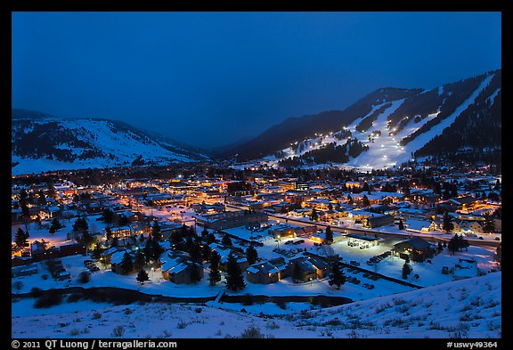 View from above at night. Jackson, Wyoming, USA (color)