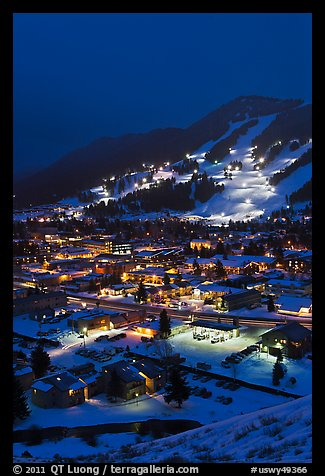 Town and Snow King ski hill from above at night. Jackson, Wyoming, USA (color)