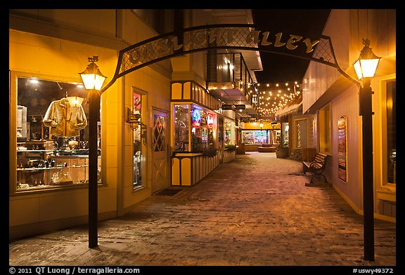 Gaslight Alley by night. Jackson, Wyoming, USA (color)
