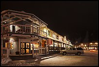Town square stores by night. Jackson, Wyoming, USA (color)