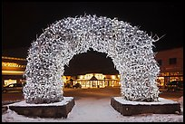 Antler arch and galleries by night in winter. Jackson, Wyoming, USA (color)