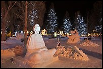 Ice sculptures on Town Square by night. Jackson, Wyoming, USA (color)