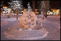 Winterfest ice sculpture by night, Town Square. Jackson, Wyoming, USA (color)