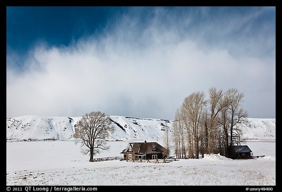 Historic Miller House estate in winter, , National Elk Refuge. Jackson, Wyoming, USA (color)