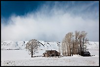 Historic Miller House estate in winter, , National Elk Refuge. Jackson, Wyoming, USA ( color)
